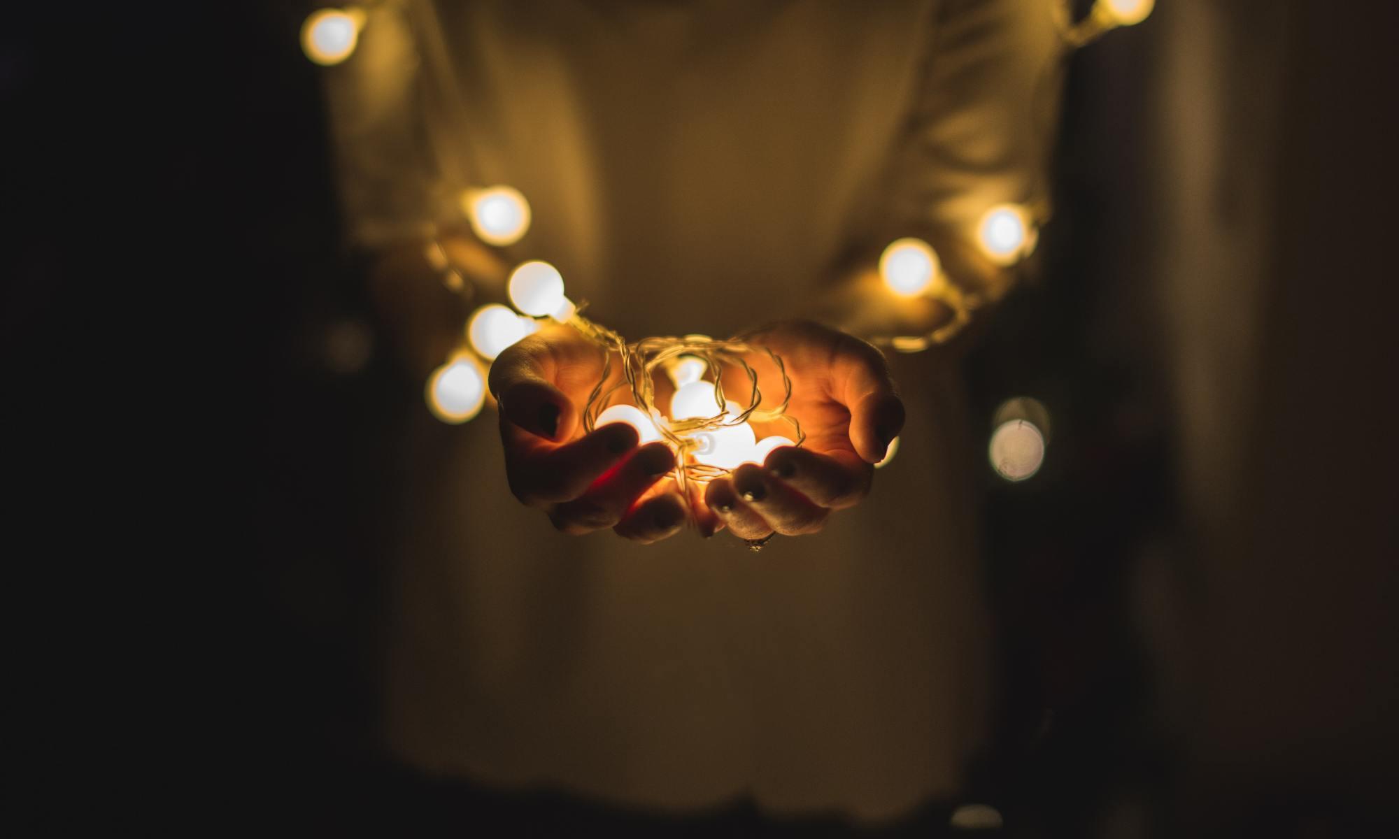 Holding fairy lights