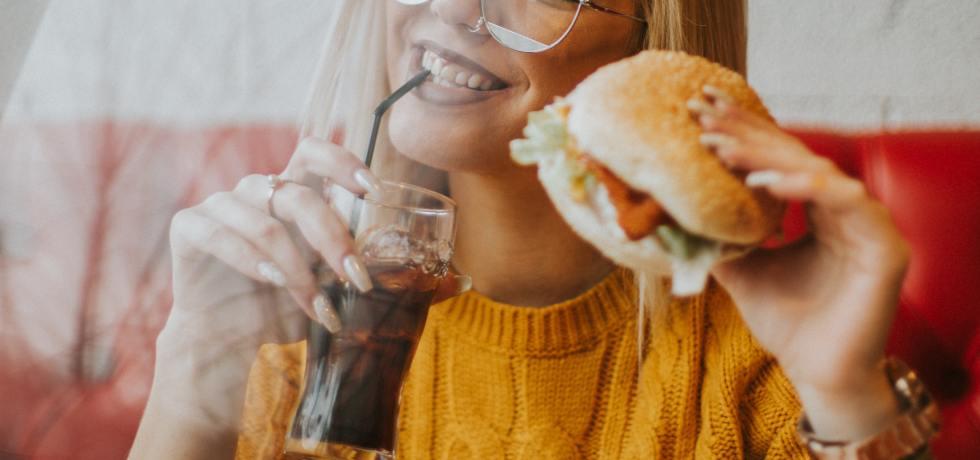 Eating a burger